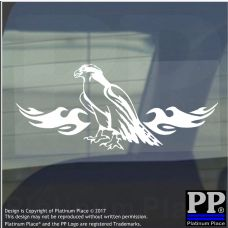 Eagle Flame-Vinyl Sticker-Car Window Graphic Decal Sign Animal,Beak,Wings,Fly